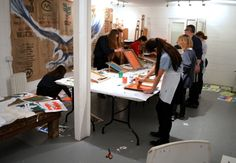Students of AccessArt's Experimental Drawing Class for Teenagers at Cambridge ArtWorks - Session led by artist Andy Mckenzie