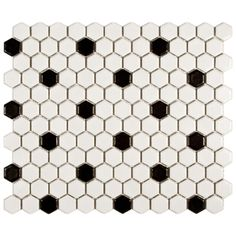 Somertile Victorian Hex Matte White With Black Dot Porcelain Mosaic Tiles (Pack of 10) $54.99
