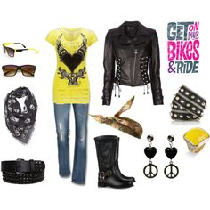 Biker chick style. Love the contrast of the yellow with the leather.   www.throttlexbatteries.com for all your motorcycle battery needs.