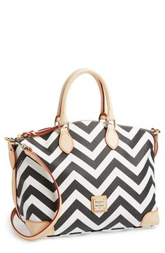 Black and White Geometric Leather Tote Bag: Dooney & Bourke Chevron Satchel Black