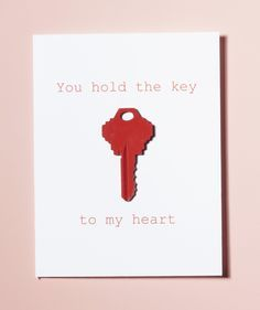 Easy DIY Handmade Valentine's Day card just for your Valentine // You hold the key to my heart.