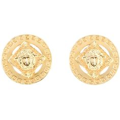 Versace Vintage Medusa Earrings ($323) ❤ liked on Polyvore featuring jewelry, earrings, accessories, versace, brincos, metallic, vintage jewellery, vintage clip earrings, disc earrings and vintage earrings