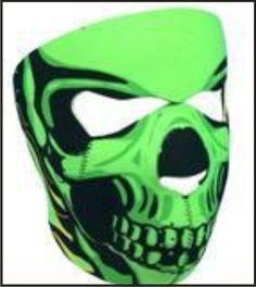 Green Skull/Tribal Neoprene Full Face Mask Motorbike/Motorcycle /