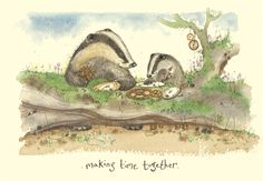 Cute Badgers Making Time Together - A Two Bad Mice Card by Fran Evans Badger Illustration, Cute Illustration, Baby Badger, Anita Jeram, Most Popular Artists, The Art Of Storytelling, Animal Magic, Illustrations And Posters, Contemporary Artists