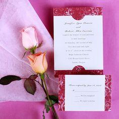 Darker red wedding invitations  white and by ElegantWeddingInvite