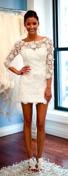 Floral Short Wedding Dress: could be used for reception dress or rehearsal dress White Lace Wedding Dress, White Dress, Bridal Lace, White Tulle, White Bridal, Ivory White, Bridal Style, Rehearsal Dinner Dresses, Rehearsal Dinners