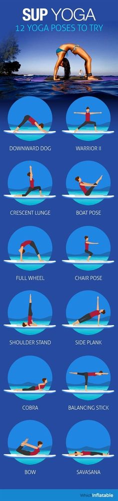 Checkout these 12 great Stand up Paddle board Yoga exercises you must try. If you can stand on one foot, you CAN do yoga on the water. View Infographic.  #YogaExercises