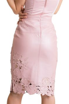 Laser Cut and Embrodeiry Skirt - Rose. A stunning exclusive flower design has been laser cut on premium quality lambskin and finished with embroidery applications sewn in leather.  Simply one of a kind; supple and buttery soft with a flattering pencil cut design.