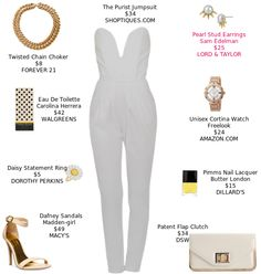 This is a wow look that will cost you pennies. @Macys @DSWShoeLovers @shoptiques #jumpsuit @heeledsandals #clutch https://mystylit.com/o/W3sBl1f4