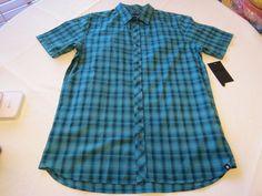 Hurley XL Eli SS Woven Mens surf skate button up shirt 3JQ Green plaid NEW #Hurley #ButtonFront
