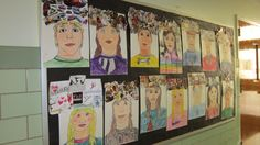 """""""Off the top of my head"""" - portrait collage- gr. 3"""