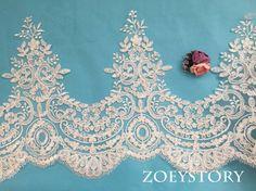 Light Ivory Alencon Lace, Wide Corded Lace Trim, Bridal Veil Lace Trim, Wedding Lace Trim (AL127)