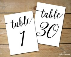 Instant Download Printable Table Numbers by MyCrayonsPapeterie