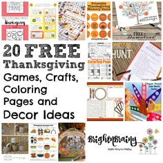 20 FREE Thanksgiving Games, Crafts, Coloring Pages And Ideas Thanksgiving Coloring Pages, Thanksgiving Games, Paper Punch, Memory Games, Free Coloring, Free Games, Activities For Kids, Posts, Africans