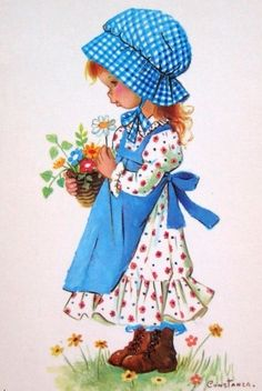 Holly Hobbie ~ Pretty in Blue Holly Hobbie, Vintage Postcards, Vintage Images, Cute Images, Cute Pictures, Vintage Illustration, Sarah Key, Vintage Children, Retro