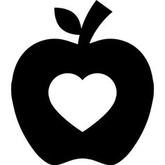 Apple silhouette with heart shape Crown Template, Heart Template, Flower Template, Silhouette Cameo, Baby Flash Cards, Diy Crafts To Do, Felt Patterns, Craft Ideas, Applique Designs