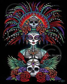 Dia De Muertos Mictecacihuatl Skull Festival Ltd Ed CANVAS Embellished 8x10 #Fantasy