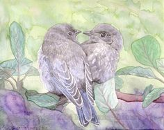 water color images of love birds | watercolor print of mother and baby blue birds