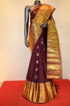 Dark Maroon Bridal Kanjeevaram Silk With Long Traditional Rich Zari Border Product Code: AB213138 Online Shopping: http://www.janardhanasilk.com/index.php?route=product/product&search=AB213138&description=true&product_id=4380