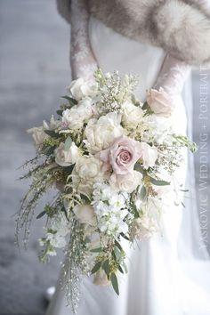cascading bridal bou