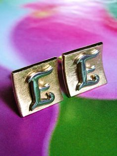Vintage Swank Letter E Cuff Links Mad Men Mid by dazzledbyvintage