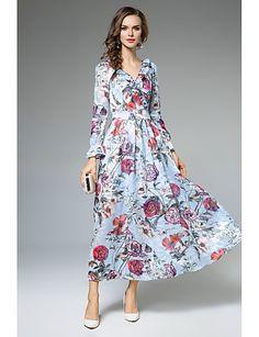 Feminino balanço Vestido,Casual Trabalho Simples Moda de Rua Floral Decote V Longo Manga Longa Poliéster Outono Inverno Cintura Média Sem