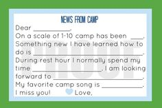 Summer Camp, Kids Stationary, Guided Stationary for Kids.  Print as many as you want!
