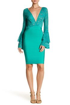Wow Couture Deep V Plunge Bell Sleeve Dress