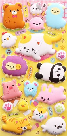 kawaii animal alpaca cat sponge stickers from Japan Kawaii Stickers, Love Stickers, Funny Stickers, Kawaii Chibi, Kawaii Art, Alpacas, Filofax, Cute Stationary, Kawaii Stationery