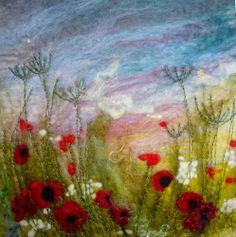 Original Hand Made Felt 'Painting' poppies like watercolour