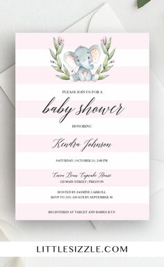 Elephant baby shower ideas for girl by LittleSizzle. Pink elephant baby shower invitation template. This cute invite with pink and white stripes is perfect to celebrate the arrival of a little girl. The watercolor grey elephant with green wreath is just too cute! Complete the look with our matching pink baby shower games and elephant themed decorations. #printable #DIY #girlbabyshower #babyshowerideas #babyshowerthemes #invitationtemplate