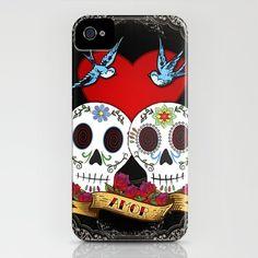 Love Skulls iPhone Case by Tammy Wetzel - $35.00