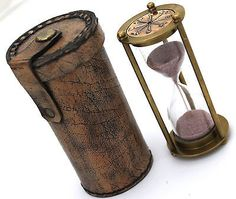 Brass Sand Timer Hourglass with Leather Box