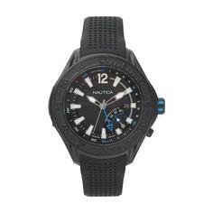Nautica Breakwater 50mm Black Rubber Strap Temperature Indicator Men s Watch  NAPBRW002 d3f3b7f92bd