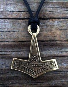 "Thor's Hammer / Mjölnir Pendant 1 1/2"" (38 mm) High x 1 1/2"" (38 mm) Wide 36"" 2.5mm Adjustable Black Cotton Cord Made in Boise, Idaho USA"