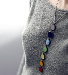 Chakra long necklace made from 7 colours of stained glass in Tiffany technique by Artkvarta Diamond Choker Necklace, Gold Pendant Necklace, Beaded Necklace, Choker Necklaces, Necklace Set, Chakra Necklace, Chakra Jewelry, Yoga Jewelry, Red Earrings