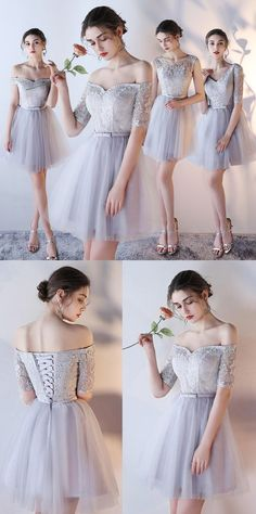 Cheap Sleeves Dresses Short Silver Prom Party Dresses Homecoming Dresses 2017, Discount Prom Dresses, A Line Prom Dresses, Prom Party Dresses, Dress Party, Dresses Dresses, Occasion Dresses, Wedding Dresses, Dresses Online
