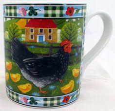 Chicken Mug Exclusive Funny & Cute Hen Farm Scene Porcelain Mug Hand Made in UK #RainbowDecorsLtd #Contemporary