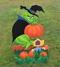 lawn-art-yard-decoration-Grinch-stole-the-Geat-Halloween-Pumpkin - Modern Grinch Halloween, Halloween Yard Art, Fairy Halloween Costumes, Halloween Yard Decorations, Grinch Christmas, Halloween Signs, Outdoor Halloween, Halloween Season, Halloween Projects