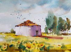 """El viejo palomar II"" Acuarela s/papel 26x36 cm #watercolor #aquarelle #art #artwork #painting #blancaalvarezwatercolors #artgallery #cansonpaper #palomar #girasoles #landscape"