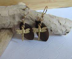 Dragonfly Earrings, 5th Anniversary, Gold and Wood Dragonfly Dangle Earrings…