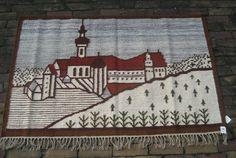 Polish Vintage Handwoven Kilim Castle in landscape.90 x by Kilimam