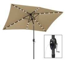 Rectangular Patio Umbrella With Solar Lights Fascinating 10 X 65 Foot Patio Led Solar Umbrella Color Options  Solar Patios 2018