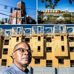 """Goler Memorial AME Zion Church, at top left, bought up 15 acres of land and buildings around the church to join in the development bonanza. Michael Suggs, below, is head of the church's community develpment corporation """"Bottom line: We want to be part of this renaissance rather than letting it happen to us,"""" he says. 