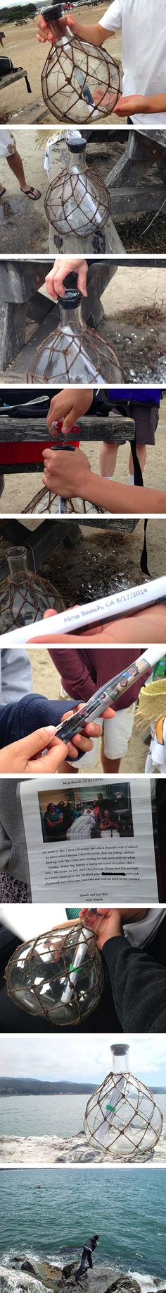 These days, finding a message in a bottle seems like something out of a storybook. But this heartwarming tale is a real life experience that took place just recently along the shores of California. While some friends were fishing, they came upon a glass bottle that had washed up on the sand. Upon closer inspection, they discovered that it had a message sealed inside.