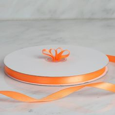 "100 Yards 3/8"" Coral Orange Decorative Satin Ribbon"