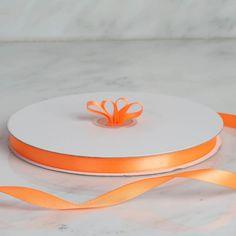 inch x 100 yards Orange Single Side Satin Ribbon Wedding Tags, Ribbon Wedding, Ribbon Decorations, 100 Yards, Orange Wedding, Burlap Ribbon, Colorful Party, Valentines Day Decorations, Coral Orange