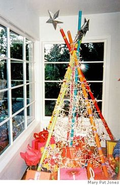 """Christmas trees from readers. SHOWN: Tree made of painted bamboo poles from Mary Pat Jones in San Rafael. """"Who says Xmas trees must be green!"""" Photo taken on 12/20/05, in San Francisco, CA.  By Katy Raddatz / The San Francisco Chronicle Photo: Katy Raddatz"""