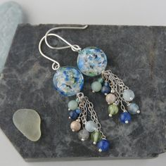 Sterling silver and blue speckle murano glass bead tassel earrings £45.00