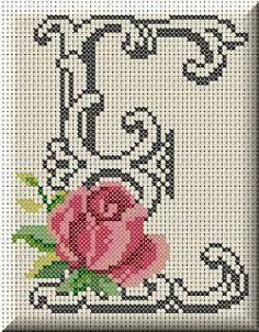 Monogram letter E cross stitch. Cross Stitch Letters, Simple Cross Stitch, Cross Stitch Flowers, Cross Stitch Charts, Cross Stitch Designs, Cross Stitching, Cross Stitch Embroidery, Embroidery Patterns, Stitch Patterns